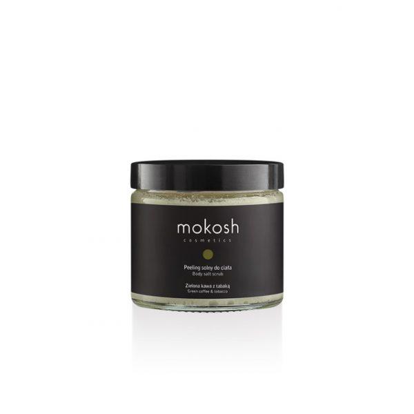 Peeling solny do ciała Zielona kawa z tabaką o głębokim, ziołowo-balsamicznym aromacie Mokosh