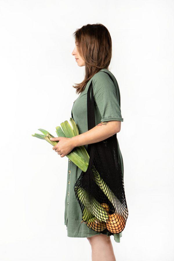 paryżanka Bo Weevil, pojemna torba ze sznurka czarna na zakupy