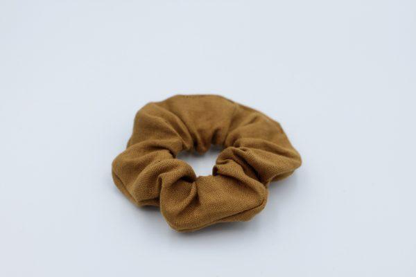Lniana frotka do włosów gumka scrunchie musztardowa