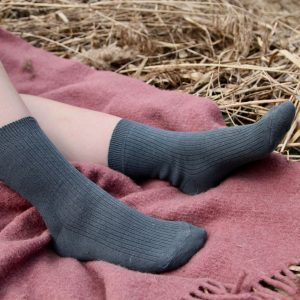 Skarpety lniano-bawełniane w prążki, Długie, Szaroniebieskie