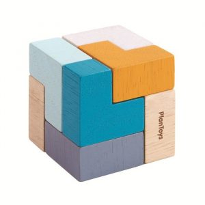 Drewniana mini układanka logiczna, sześcian Plan Toys
