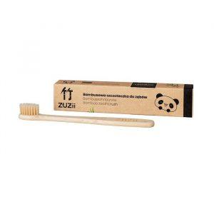 Naturalna, wegańska, bambusowa szczoteczka do zębów dla dzieci, SOFT, kolor beżowy.