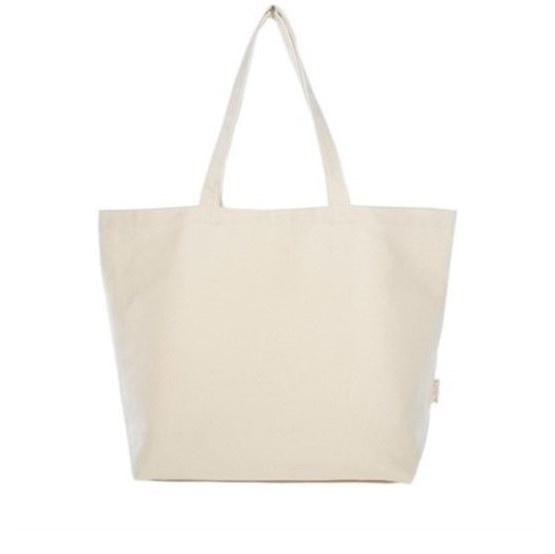 Pojemna torba płócienna, wykonana z grubego płótna bawełnianego. Bez problemu pomieści codzienne zakupy.